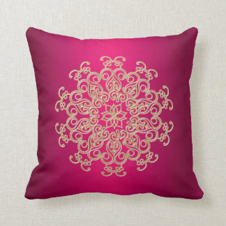 Fuchsia and Gold Indian Style Throw Pillow