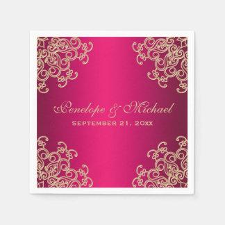 Fuchsia and Gold Indian Style Wedding Napkin