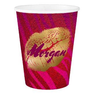 Fuchsia and Gold Lipstick print Tiger Stripes Paper Cup