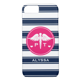 FUCHSIA AND NAVY STRIPE PHYSICAL THERAPY PT iPhone 7 CASE