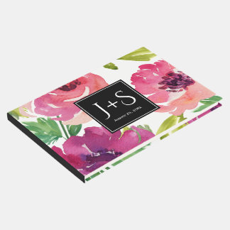 Fuchsia and Pink Watercolor Floral with Monogram Guest Book