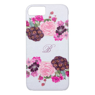 Fuchsia and Plum Floral Monogram iPhone 7 Case