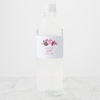 Fuchsia and Plum Floral Water Bottle Label