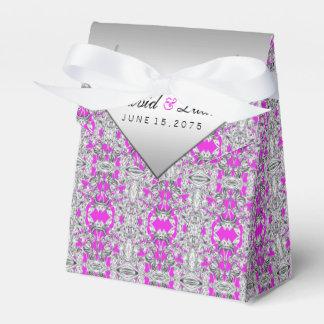 Fuchsia and Silver Wedding Favor Box