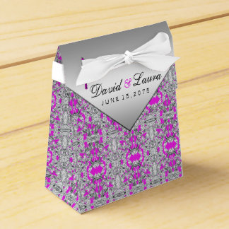Fuchsia and Silver Wedding Favour Box