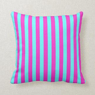 Fuchsia/Aqua Colored Stripes Cushion