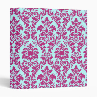Fuchsia & Aqua Damask 3 Ring Binders