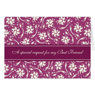 Fuchsia Best Friend Bridesmaid Invitation Card