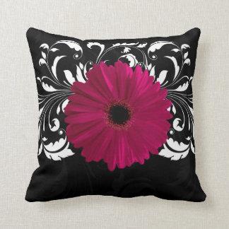 Fuchsia, Black/White Gerbera Daisy Throw Pillow