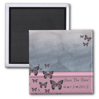 Fuchsia Butterflies Save The Date Magnet