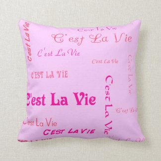 Fuchsia C'est La Vie Throw Pillow