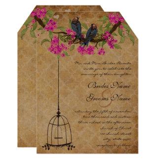 Fuchsia Cherry Blossom Love Birds Birdcage Wedding Card