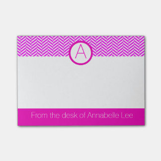Fuchsia Chevron Post-it Notes