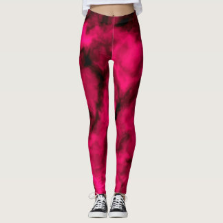 Fuchsia Clouds Abstract Leggings