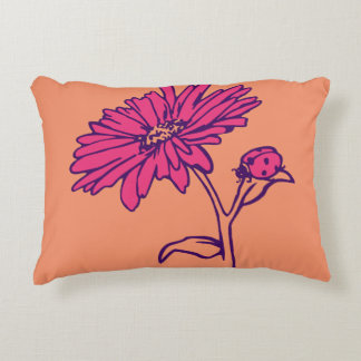 Fuchsia Daisy and Lady Bug Pillow
