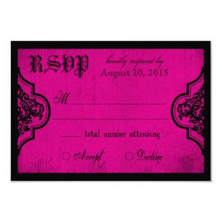 Fuchsia de Goth et carte noire de la dentelle RSVP Carton D'invitation 8,89 Cm X 12,70 Cm