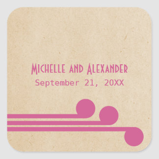 Fuchsia Deco Chic Wedding Stickers