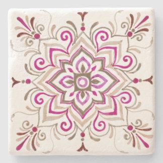 Fuchsia delicate bohemian tile coaster