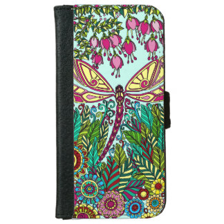 Fuchsia Dragonfly Garden pink yellow iPhone 6 Wallet Case