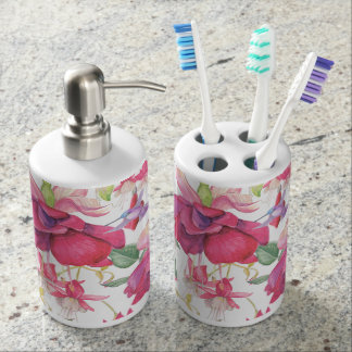 Fuchsia Fantasy Soap Dispenser And Toothbrush Holder