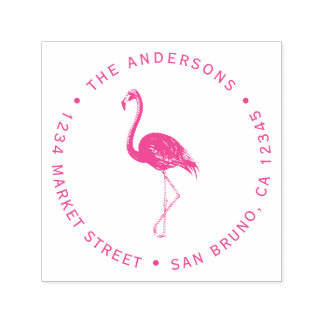 Fuchsia Flamingo | Custom Circular Return Address Self-inking Stamp