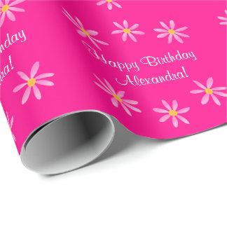 Fuchsia Floral Birthday 4Alexandra (Name) Wrapping Paper