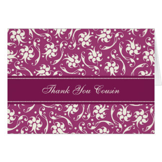 Fuchsia Floral Cousin Thank You Bridesmaid Card