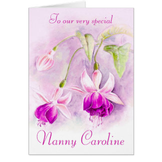 Fuchsia floral purple pink nanny birthday card