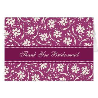 Fuchsia Floral Thank You Bridesmaid Card