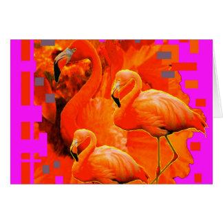 FUCHSIA FLORIDA TROPICAL FLAMINGO FAMILY CARD