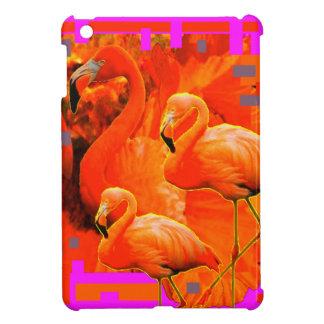 FUCHSIA FLORIDA TROPICAL FLAMINGO FAMILY iPad MINI COVER