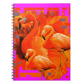 FUCHSIA FLORIDA TROPICAL FLAMINGO FAMILY NOTEBOOK