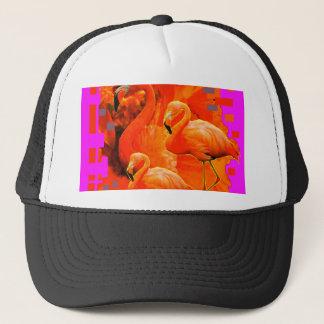 FUCHSIA FLORIDA TROPICAL FLAMINGO FAMILY TRUCKER HAT