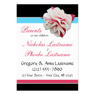 Fuchsia Flower ~ 2 Kids, 2 Parents Calling Cards Large Business Cards (Pack Of 100)