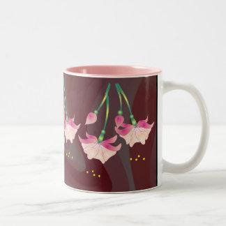 FUCHSIA FLOWERS by SHARON SHARPE Two-Tone Coffee Mug