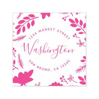 Fuchsia Foliage | Family Name Return Address Self-inking Stamp