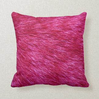 Fuchsia Fur Look Throw Pillow