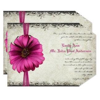 Fuchsia Gerber Daisy Wedding Invite