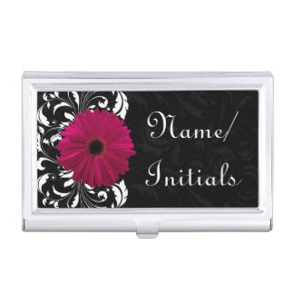 Fuchsia Gerbera Daisy Black/White Swirl Business Card Holder