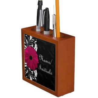 Fuchsia Gerbera Daisy Black/White Swirl Pencil/Pen Holder