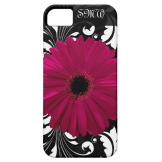 Fuchsia Gerbera Daisy with Black and White Swirl Case For The iPhone 5