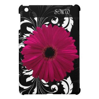 Fuchsia Gerbera Daisy with Black and White Swirl iPad Mini Cover