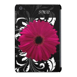 Fuchsia Gerbera Daisy with Black and White Swirl iPad Mini Retina Cover