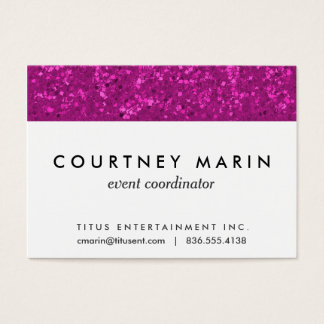 Fuchsia Glitter Look Hot Pink Sparkle Print Business Card