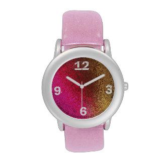 Fuchsia Gold Glitter Watch with Pink Glitz Band