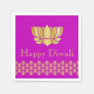 Fuchsia & Gold Indian Pattern Design Diwali Party Paper Napkin