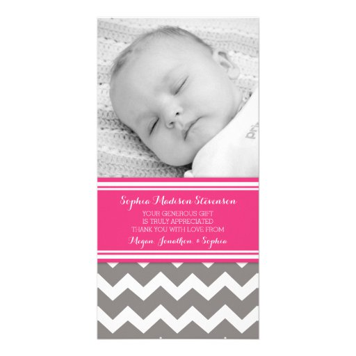 Fuchsia Gray Thank You Baby Shower Photo Cards