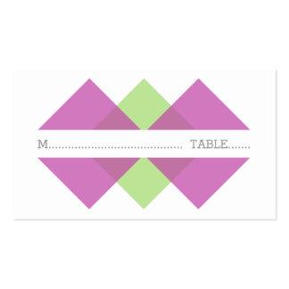 Fuchsia Green Geometric Triad Place Card Business Card Templates