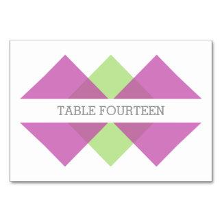 Fuchsia Green Geometric Triad Table Card