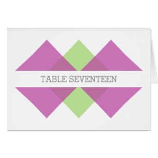 Fuchsia Green Geometric Triad Table Number Card